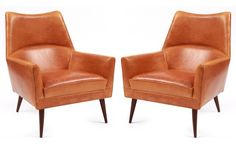 Paul Mccobb Leather & Walnut Lounge Chairs | red modern furniture