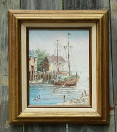 "Vtg FISHING BOAT Harbor Scene | SIGNED Sherman | ~12""x15"" FRAMED OIL on Canvas  #Impressionism #Oil #Painting #Fishing #Boat"