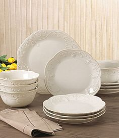 Lenox French Perle Scalloped Stoneware Dinnerware Set - White N/A White Dinnerware, Dinnerware Sets, Mikasa Dinnerware, Lenox French Perle, Dining Ware, Everyday Dishes, White Dishes, Dish Sets, Oui Oui