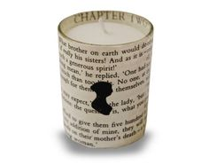 "Jane Austen Upcycled Votive Candle with Silhouette- (I hate the term ""upcycled"" though)."