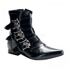 Skull Buckle Brogue Ankle Boot - New at GothicPlus.com Price: $84.95  The Brogue mens ankle boot by Demonia has classic dressy styling perfect for prom or your wedding. The skull pewter finish buckles gives is extra edge Zip front style pointy toe 1 inch heel and topstitched detail. The perfect boot to wear with pants - even jeans! Great for costumes too like vampire or pirate.  All man made materials with padded insole and non-slid sole.  #gothic #fashion #steampunk