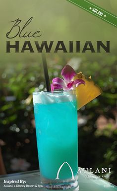 "Inspired by Aulani, a Disney Resort & Spa, this electric summer cocktail adds a little chill to any backyard barbecue! Fresh with the flavor of the islands, use this drink to cool down your summer parties. A mix of sweet and sour, rum, curacao, and of course-pineapple, say ""aloha"" to a beverage everyone can enjoy."