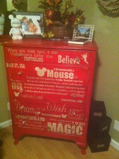 """My """"Magical Memories"""" up cycled Dresser!! Had a blast turning this beat up old dresser into my favorite piece in my home! Used my SILHOUETTE to design all the images and fonts all the graphics!!! Love that machine!"""