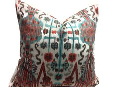 Pillows,  Decorative Pillows,  brown, turquoise, orange, gray, natural, Pillows Designer  Fabric   Ikat  Pillows