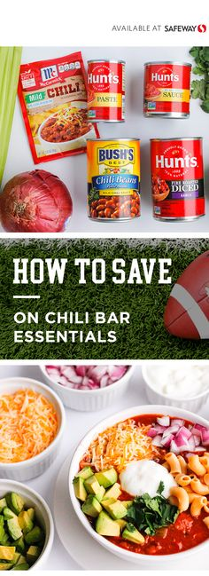 Create game day party perfection with help from BUSH'S® Mild Pinto Chili Beans, McCormick® Chili Sea Chili Recipes, Crockpot Recipes, Chili Seasoning Mix, Chili Bar, No Bean Chili, Game Day Food, Healthy Eating Recipes, Fabulous Foods