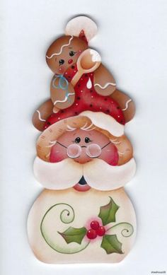 HP SANTA & Gingerbread - Based on a Renee Mullins design... handpainted by Pamela House