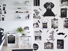 Lekent familiehjem i svart-hvitt   Boligpluss.no