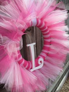 Tulle Tutu Ballerina Princess Wreath with Wooden by KraftinMommy