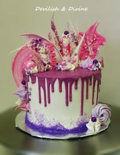 Pink and Purple Drip Cake