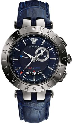 $1,795, Versace Swiss V Race Gmt Blue Alligator Embossed Leather Strap Watch 46mm 29g98d282 S282. Sold by Macy's. Click for more info: https://lookastic.com/men/shop_items/149547/redirect