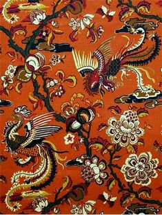 "Firebird Terracotta - Firebird from Braemore Textiles – 100% linen elegant Chinoiserie Dragon fabric. Perfect for upholstery, window treatments or bedding. Durable 48,000 double rubs. Repeat; H 27"" x V 31.5"". 54"" wide."