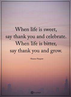 When life is sweet, say thank you and celebrate. When life is bitter, say thank you and grow. - Shauna Niequist #powerofpositivity #positivewords #positivethinking #inspirationalquote #motivationalquotes #quotes #life #love #hope #faith #respect #sweet #thankful #grateful #thankyou #celebrate #grow