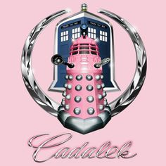 "Dalek / Caddy logo mashup… Comments welcome, and as always, this is an obvious parody, so please….EXONERATE!!!!  For another twist, check out the ""Cadalek in Tardis Blue"" Version!  http://www.redbubble.com/people/magmata/works/10494468-pink-cadalek?c=218537-doctor-who  Tags doctor who, dalek, cybermen, whovian, tardis, ninth doctor, tenth doctor, eleventh doctor, david tennant, matt smith, cadillac, logo, mashup, parody"