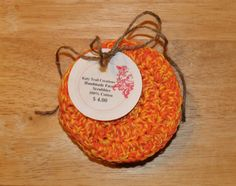 Hand Crocheted Orange and Yellow Twist  by KatyTrailCreations