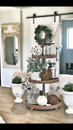 Tiered Tray Decor Ideas: Farmhouse Style I am still in love with Farmhouse Decor and plan to decorate the majority of my house in that fashion. One item that I can style farmhouse is my Tiered Tray and then restyle again and again Cotton … Farmhouse Side Table, Country Farmhouse Decor, Rustic Decor, Country Interior, Modern Farmhouse, Farmhouse Ideas, Farmhouse Christmas Decor, Farmhouse Style Decorating, Country Kitchen