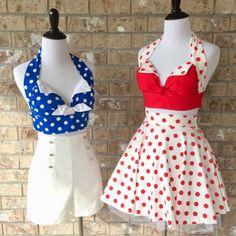 My handmade Custom University Dance Team Shorts/Halter and Circle Skirt/Halter outfits. Rockabilly Looks, Rockabilly Outfits, Rockabilly Fashion, Retro Outfits, Retro Fashion, Girl Fashion, Vintage Fashion, Vintage Summer Outfits, Summer Fashion Outfits