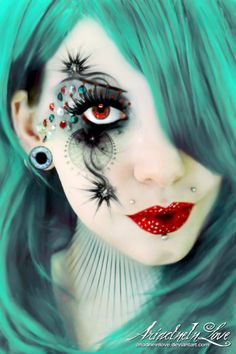 15 + Inspiring Halloween Eye Make Up Looks, Ideas & Trends 2014 Diy Makeup, Makeup Art, Makeup Ideas, Free Makeup, Makeup Trends, Makeup Tips, Halloween Make Up, Halloween Face Makeup, Halloween Clothes