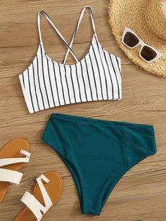 Shop Striped Knot Hem Top With Ruched High Waisted Bikini at ROMWE, discover more fashion styles online. 2 Piece Swimsuits, Cute Swimsuits, Cute Bikinis, Women's Bikinis, Trendy Bikinis, Vintage Swimsuits, Summer Bathing Suits, Girls Bathing Suits, Striped Swimsuit