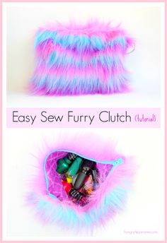 Easy Sew Furry Clutch, free tutorial