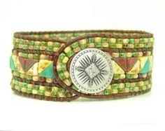 Christmas Sale, Beaded Leather Wrap Cuff Bracelet, Multicolor Leather Cuff, Southwestern Style Bracelet, 3 Row, Boho