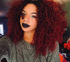 Burgundy red hair curls african American www. Pelo Natural, Natural Hair Care, Natural Hair Styles, Natural Curls, Protective Hairstyles, Curled Hairstyles, Black Hairstyles, Medium Hairstyles, Colorful Hair