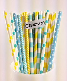 25 Baby Blue and Yellow Paper straw mix, Rubber Ducky, Baby Shower, Kid's Party,