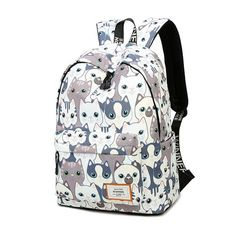 Waterproof Cat Print Backpack Girl s Kids School bag Bookbag for Girls 1a156c8f64847