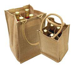 Yute arpillera 4 botella de vino de asas con algodón webbed con tamaño divisor 8 & quot; W x 14 '' H x 8 & quot; Gusset- CarryGreen bolsa