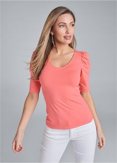 PUFF SLEEVE BASIC TOP Basic Tops, Scoop Neck, V Neck, Cotton Spandex, Casual Looks, Feminine, Plus Size, Fitness, Fabric