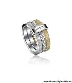 Breil gioielli Anello Breilogy in acciaio con cristalli swarovski bianchi e finiture diamantate grigia a champagne modello TJ1328 www.demarchigianotti.com