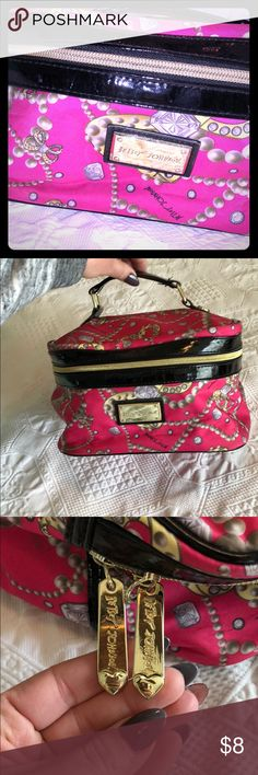 """Betsy Johnson travel set Small travel bag. I used to carry makeup. 9inx7inx6in deep. Makeup stains left in it but nothing major at all! Adding the smaller bag also! 7""""x5""""! Thanks for shopping!!! 💞 Betsey Johnson Bags Cosmetic Bags & Cases"""