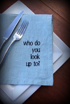 Conversation Starter Ice Breaker Linen Napkins in TEAL Great For Dinner Parties and Gifts. $72.00, via Etsy.