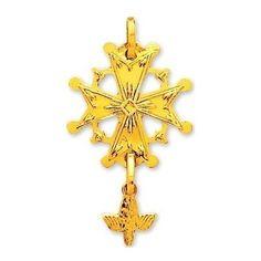 Croix Huguenote Pendentif Or Jaune 18 carats pour homme, femme, enfant 1.55grs, Croix Protestante - Princesse Diamants http://www.princessediamants.com/article-croix-huguenote-or-jaune-2431.htm