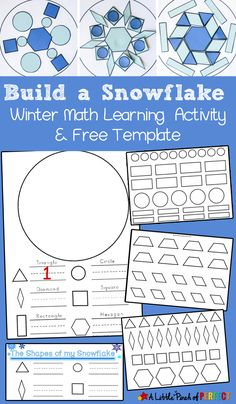 Build a Snowflake Winter Shape Math Activity and Free Printable: Kids can make beautiful snowflakes as they learn and craft with shapes. The free printable includes build and count mats, shapes, and t Fun Winter Activities, Kindergarten Activities, Preschool Activities, Preschool Winter, Christmas Maths Activities, Winter Art Kindergarten, Children Activities, Math Crafts, Math Projects