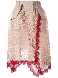 Shop Sacai lace overlay military waist skirt.