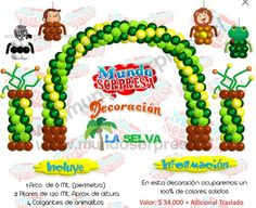 Deco tema selvatica Jungle Balloons, Dinosaur Balloons, Ben 1000, Baloon Art, Noahs Ark Theme, Baby Shower Niño, Jungle Party, Balloon Animals, Balloon Decorations