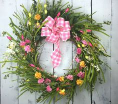 Spring Door Wreath, Wreath Front Door, Spring Floral Wreath, Summer Wreaths, Easter Wreath, Grass Wreath, Wildflower Wreath, Porch Decor-Garden Wreath-Forsythia Wreath    Spring has sprung! This bright and colorful floral wreath will have you thinking about the warm sunny days that are on your doorstep. Created using a grapevine wreath base, I added a variety of pink and yellow artificial gypsophila, white forsythia branches, wild grass stems and dark green smilax leaves to create this…