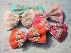 Chic Lace and Fabric Bow Hair Clip