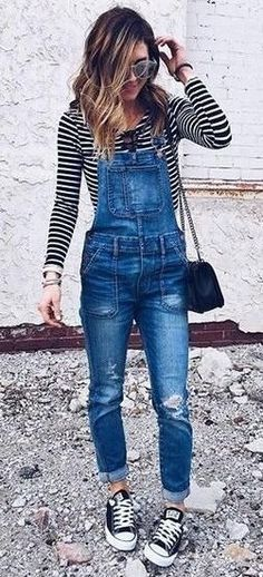 a9c05a6ea15b  winter  outfits black and white stripe sweater with blue denim dungarees Denim  Overalls Outfit