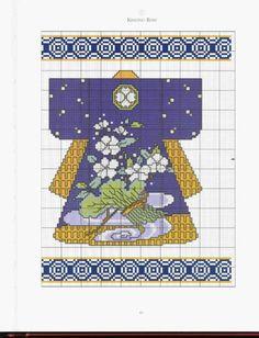 0 point de croix kimono jaune et bleu  - cross stitch yellow and blue kimono