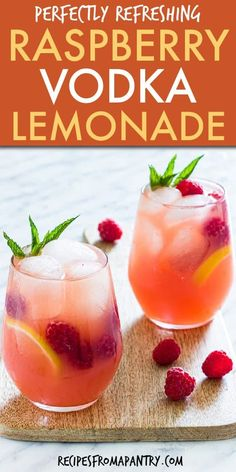 This easy Vodka Lemonade recipe is the perfect fruity cocktail and summer sipper for a crowd. Whip up a big batch of this colourful raspberry vodka lemonade with fresh raspberries, tart lemons and your favourite vodka and serve up in a pitcher with plenty of ice.  Click through for the awesome pink lemonade vodka recipe.  #vodkalemonade #cocktail #vodka #vodkacocktail #raspberrylemonade #lemonade  #summerrecipe #drinks #homemadelemonade #summerdrinks