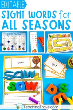 Sight word activities that are editable make it easy to create hands on teaching resources that help even your struggling readers to learn their sight words. With these 4 editable sight word packs you can quickly make 21 literacy centers each season. Perfect for targeting the sight words your class need to learn. These fun printables are perfect for small groups and centers.#wordwork #sightwordactivities #sightwords