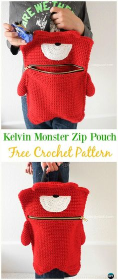 Kelvin Monster Zip Pouch Bag Free Crochet Pattern - Crochet Kids Bags Free Patterns