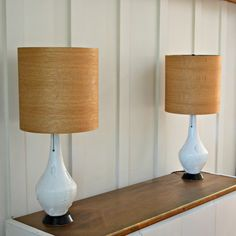 Mid Century Vintage Lamp Includes New Wood Shade; Available individual or as a pair!  I found this fun pair of textured ceramic Mid Century Lamps with a Leaf relief pattern at the home of the sweetest Grandma. Now redesigned in gloss white and wood!