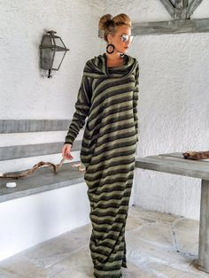 Warm Wool Maxi Dress Kaftan / Winter Warm Long Dress / Plus Size Dress / Oversize Loose Dress / #35167  Very warm and comfortable...!  - Handmade item  - Materials : Warm Knitted Wool Stretch Fabric  - The model wears : size - small - Fit : Loose fit  - Length : 150 cm / 59 inches ** If you desire different length, please write it in the notes area.  - Machine or hand wash cold 30 degrees, warm iron if needed  * Note : Accessories are not included in the package  - Ma...