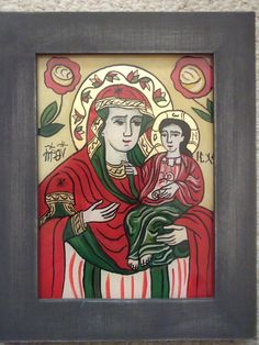 Icoane romanesti pictate pe sticla in tehnica traditionala Religious Icons, Religious Art, Wood Art, Madonna, Painted Rocks, Coloring Pages, Catholic, Glass, Painting