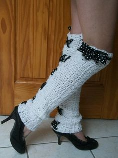 Items similar to Hand Crocheted -Custom Made To Size - Pin Up Polka Dot - Teen/Adult Over The Knee Leg Warmers on Etsy Crochet Leg Warmers, Crochet Boot Cuffs, Crochet Boots, Crochet Slippers, Cute Crochet, Crochet Clothes, Hand Crochet, Knit Crochet, Crochet Designs