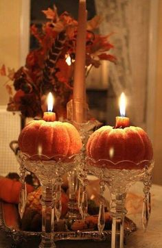 Elegant Pumpkin Candles home autumn fall decorate ideas pumpkin halloween thanksgiving