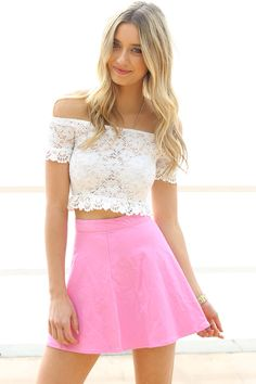 skirt & crop off the shoulder
