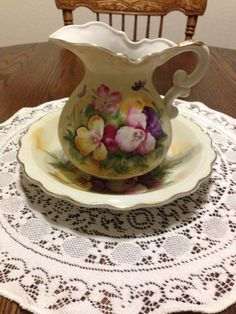 Lefton China Pitcher and Bowl W/Matching Plate (3 Pieces)
